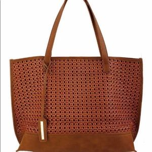 Street Level Chic Woven Shopper Bag Brown